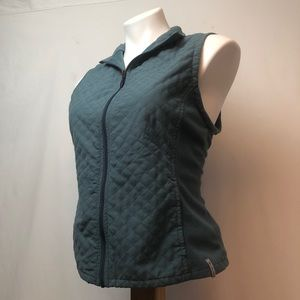 Columbia Blue/green zipper quilted fleece Vest